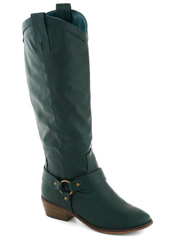 Coffee Stop Boot - Green, Solid, Good, Mid, Faux Leather, Casual, Rustic, Fall, Chunky heel