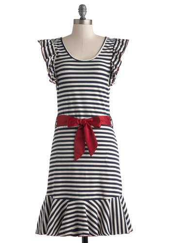 Good Times Roll Dress in Stripes by Effie's Heart - Jersey, Cotton, Knit, Long, Blue, White, Stripes, Pockets, Ruffles, Belted, Casual, Shift, Cap Sleeves, Better, Scoop, Red, Nautical, Summer, Variation