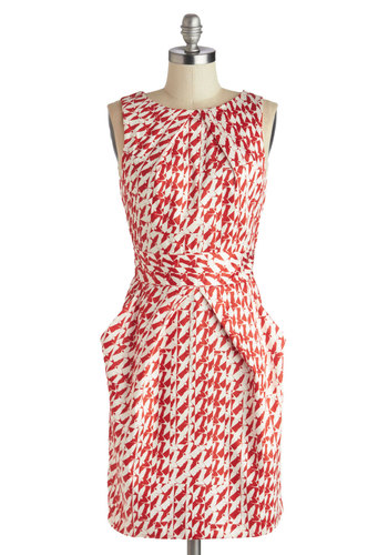Stroke of Genius Dress in Birds - Mid-length, Cotton, Woven, Red, White, Print with Animals, Pockets, Party, Sheath / Shift, Sleeveless, Better, Crew, Variation, Statement