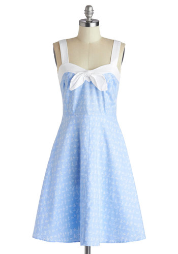 Lovely Letters Dress - Nautical, Cotton, Mid-length, Blue, White, Novelty Print, Casual, A-line, Better, Sweetheart, Summer, Exclusives, Woven