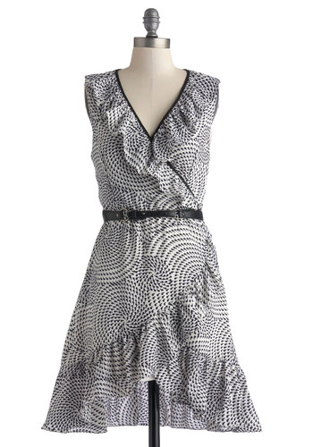 Make Quote of It Dress - Short, Black, Print, Ruffles, Belted, Casual, A-line, Sleeveless, Better, V Neck, White, Daytime Party, Woven