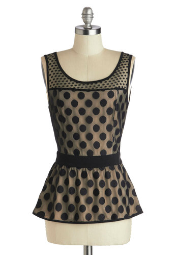 Dupont Circles Top - Black, Tan / Cream, Polka Dots, Party, Peplum, Sleeveless, Sheer, Knit, Mid-length, Mod