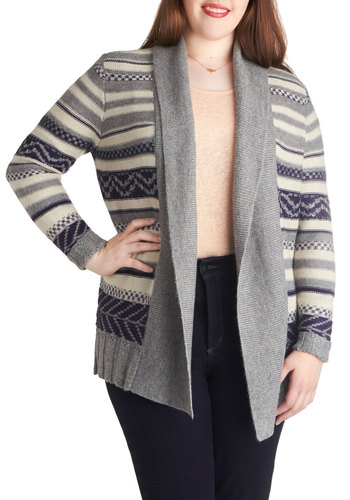 On and Office Hours Cardigan in Plus Size by BB Dakota - Grey, Stripes, Fall, Long Sleeve, Knit