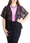 Layered in Lovely Cardigan in Plus Size by BB Dakota - Sheer, Black, Solid, Lace, Party, Daytime Party, Short Sleeves