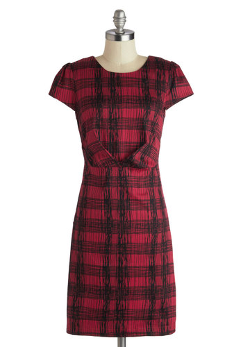 Crisp-Cross Dress by Louche - Cotton, Mid-length, Red, Black, Plaid, Scholastic/Collegiate, Sheath / Shift, Short Sleeves, Better, Scoop, Work, Fall, Rustic
