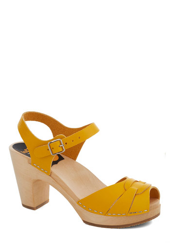 Sunflower to the People Heel by Swedish Hasbeens - Yellow, Mid, Best, Platform, Chunky heel, International Designer, Leather, Solid, Party, Daytime Party, Summer