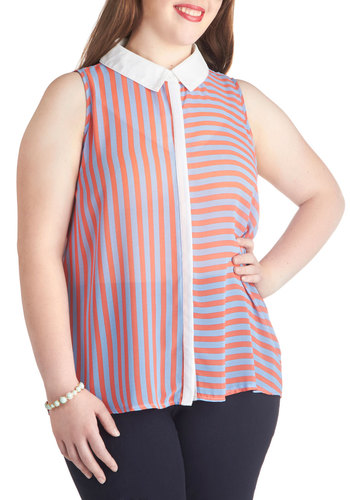 Fashion Sense of Direction Top in Blue and Red - Plus Size - Chiffon, Sheer, Multi, Red, Blue, White, Stripes, Casual, Sleeveless, Summer, Woven, Collared