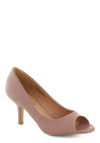 Day to Remember Heel - Pink, Solid, Formal, Prom, Wedding, Work, Daytime Party, Graduation, Bridesmaid, Bride, Mid, Good, Peep Toe, Party, Cocktail, Minimal, Faux Leather