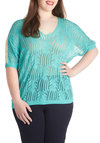 Sea Spray Top in Plus Size - Blue, Tan / Cream, Solid, Casual, Short Sleeves, Sheer, Scoop