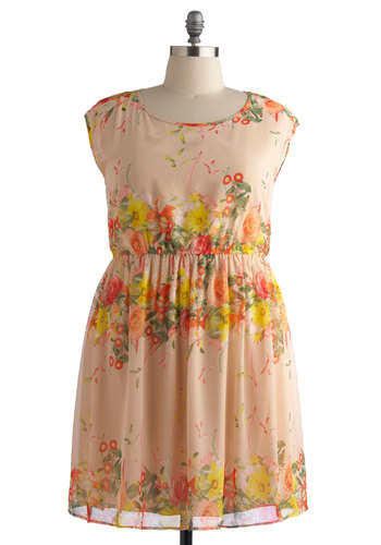 Harmonious Arrangement Dress in Plus Size - Orange, Multi, Floral, Party, A-line, Cap Sleeves, Good, Scoop, Daytime Party, Spring, Summer, Chiffon, Woven, Exclusives