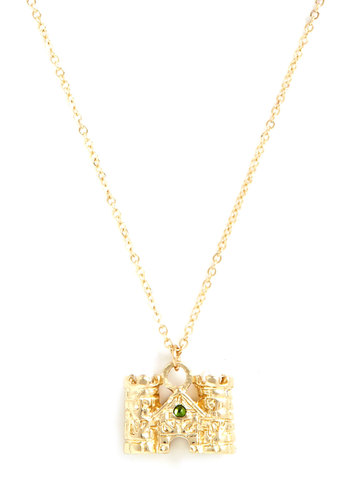 Castle a Spell Necklace - Gold, Green, Solid, Rhinestones, Fairytale, Gold
