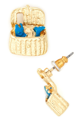 Fish Haute of Water Earrings - Print with Animals, Quirky, Blue, Gold