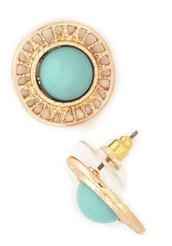 Merry-Go-Round Earrings - Blue, Gold, Solid, Luxe, Vintage Inspired, 60s, Gold