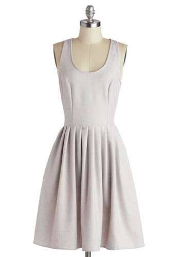 Bakery Date Dress - Mid-length, Woven, Solid, Bows, Pockets, A-line, Racerback, Better, Scoop, Pleats, Pink, Daytime Party, Pastel, Grey
