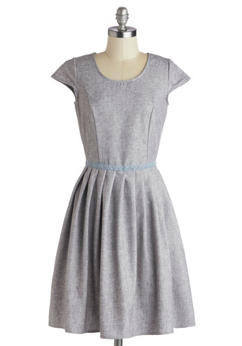 Fete for a Feast Dress - Woven, Mid-length, Grey, Solid, Pockets, A-line, Cap Sleeves, Better, Scoop, Work, Pleats, Casual