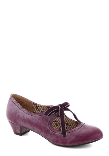 Stacks or Fiction Heel in Berry - Purple, Low, Lace Up, Faux Leather, Better, Solid, Work, Vintage Inspired, 20s, 30s, Variation
