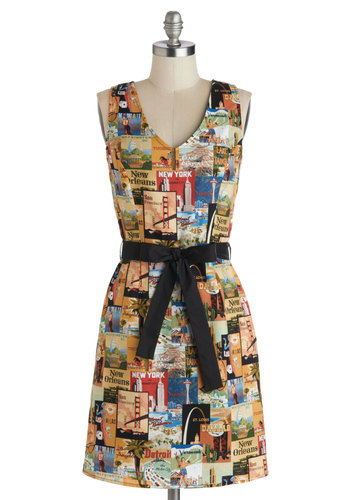 Site to See Dress - Multi, Print, Belted, Casual, Travel, A-line, Sleeveless, V Neck, Cotton, Woven, Pockets, Better, Novelty Print, Statement, Mid-length, Gifts Sale