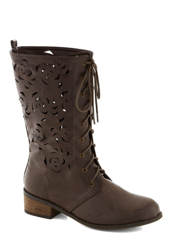 Off to the Florist Boot - Brown, Solid, Cutout, Boho, Lace Up, Low, Faux Leather, Good, Fall, Top Rated