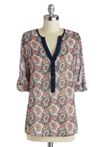 Impromptu Poetry Performance Top - Mid-length, Chiffon, Multi, Orange, Blue, Tan / Cream, Paisley, Buttons, 3/4 Sleeve, Boho, Casual, Vintage Inspired, 70s, Sheer, Woven, Multi, Tab Sleeve