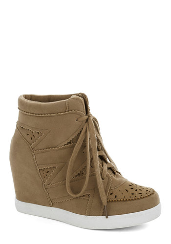 Poetry Club President Wedge - Tan, Solid, Cutout, Urban, Platform, Wedge, Lace Up, Mid, Good, Casual, Fall