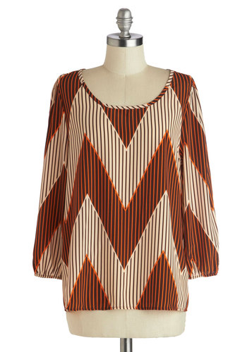 High Sierras Top - Brown, Orange, Tan / Cream, Stripes, Chevron, Mid-length, Woven, Casual, 3/4 Sleeve, Sheer, Scoop, Brown, 3/4 Sleeve