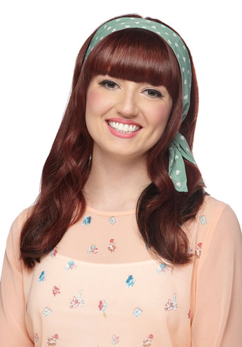 Through the Wire Headband in Hearts - Mint, White, Print, Better, Variation, Top Rated