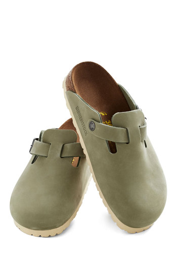 Casual Evening Clog in Moss by Birkenstock - Green, Solid, Flat, Casual, Best, Boho, Leather, Variation