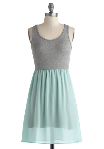 You Can Duet Dress - Knit, Mid-length, Grey, Mint, Casual, A-line, Tank top (2 thick straps), Good, Scoop, Solid, Pastel, Twofer