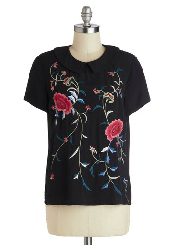 Finest China Top - Mid-length, Woven, Black, Blue, Pink, Floral, Embroidery, Peter Pan Collar, Work, Short Sleeves, Collared, Multi, Daytime Party, Vintage Inspired, Folk Art, Black, Short Sleeve