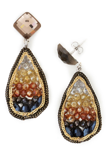 O.M.Geode Earrings in Sunset - Luxe, Variation, Multi, Orange, Black, White, Print, Ombre, Statement