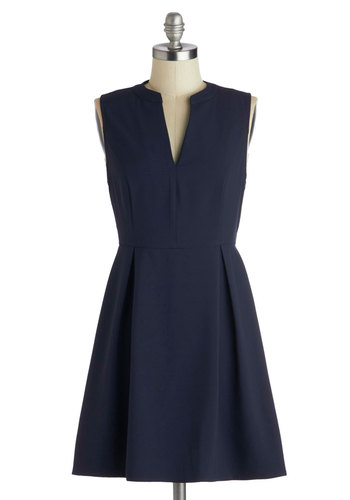 Handbell Ensemble Dress - Knit, Short, Blue, Solid, Exposed zipper, Pleats, Work, A-line, Sleeveless, Good, Basic