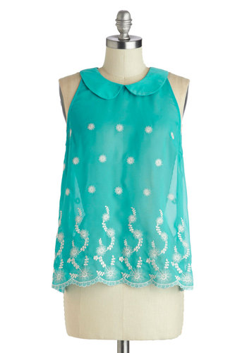 Teal Lullaby Top - Mid-length, Chiffon, Sheer, Woven, Blue, White, Buttons, Embroidery, Peter Pan Collar, Work, Daytime Party, Tent / Trapeze, Sleeveless, Summer, Crew, Blue, Sleeveless