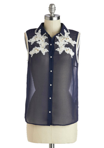 From Sheer to Eternity Top - Blue, White, Buttons, Embroidery, Pearls, Trim, Daytime Party, Sleeveless, Mid-length, Chiffon, Sheer, Woven, Basic, Blue, Sleeveless