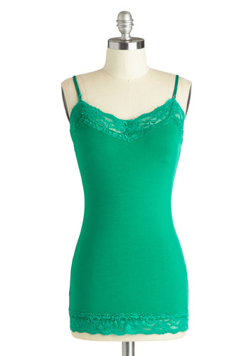 Style Stratum Top in Green - Jersey, Cotton, Knit, Mid-length, Basic, Green, Lace, Solid, Green, Sleeveless, Lace