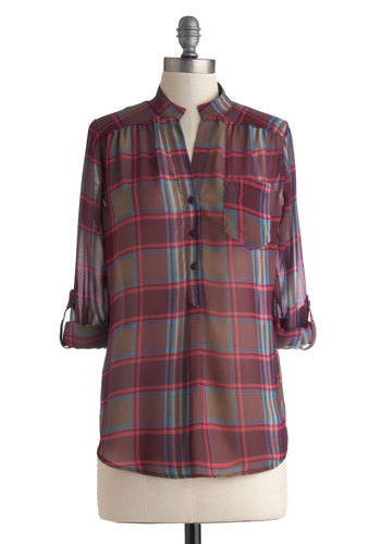 A Novel Afternoon Top - Mid-length, Chiffon, Multi, Purple, Plaid, Buttons, 3/4 Sleeve, Pockets, Casual, Sheer, Woven, Gifts Sale, Purple, Tab Sleeve