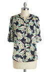 Illustrative Depiction Top - Mid-length, Green, Mint, Floral, Buttons, Work, Long Sleeve, Multi, Blue, Casual, Blue, Tab Sleeve