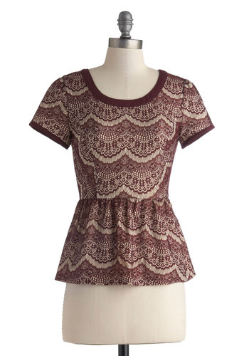 Qu'est Sara Sara Top in Burgundy - Mid-length, Red, Tan / Cream, Print, Work, Peplum, Short Sleeves, Daytime Party, Vintage Inspired, Variation, Scoop, Lace, Red, Short Sleeve, Holiday Party, Lace