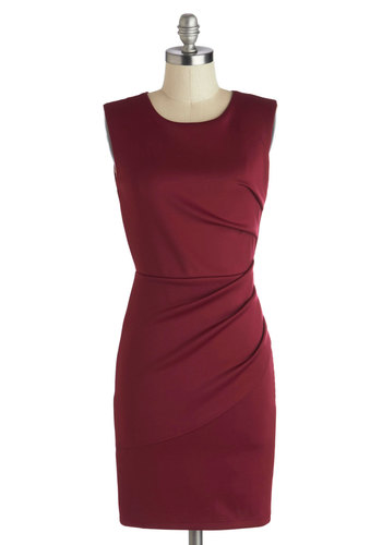 The More the Mulberry Dress - Short, Knit, Red, Solid, Ruching, Party, Bodycon / Bandage, Sleeveless, Good, Scoop, Wedding, Cocktail, Mini, Work