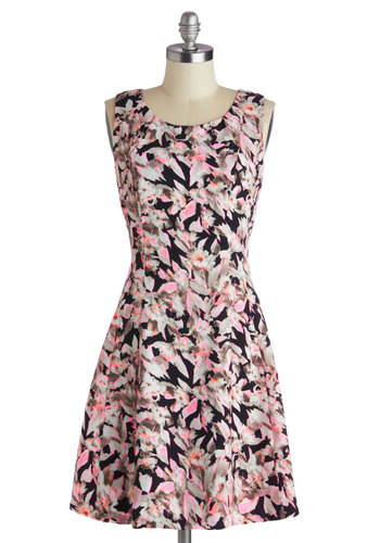 Say Highlight Dress - A-line, Scoop, Mid-length, Woven, Pink, Black, Grey, Floral, Sleeveless, Better, Neon, Statement, Summer, Casual