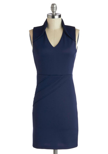 Who's That Navy? Dress - Knit, Blue, Solid, Bodycon / Bandage, Sleeveless, Good, V Neck, Party, Girls Night Out, Mini, Short