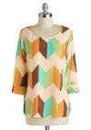 Festive for Lunch Top - Multi, Orange, Green, Brown, Tan / Cream, Print, 3/4 Sleeve, Casual, Scoop, Fall, Mid-length, White, Tab Sleeve