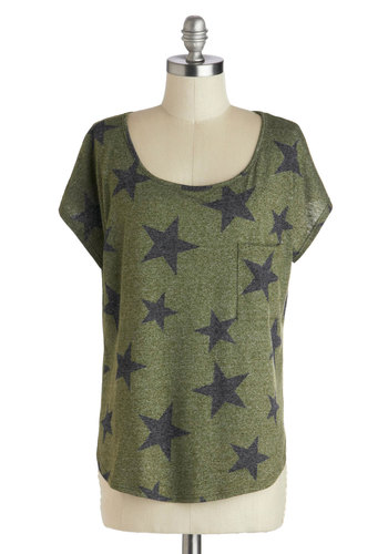 So Star, So Good Tee - Jersey, Green, Mid-length, Knit, Black, Print, Pockets, Casual, Short Sleeves, Scoop