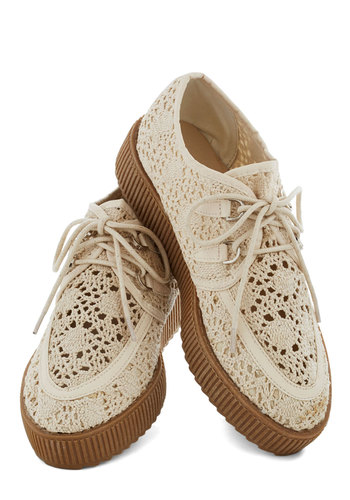 Au Lait La Flatform - Crochet, Vintage Inspired, 90s, Platform, Wedge, Lace Up, Low, Good, Cream, Tan / Cream, Solid, Casual, Menswear Inspired, Knit
