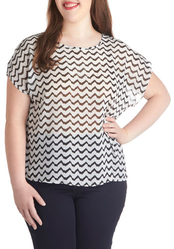 Ebb and Flow Top in Plus Size - Chevron, Casual, Short Sleeves, Sheer, Black, White, Woven, Scoop