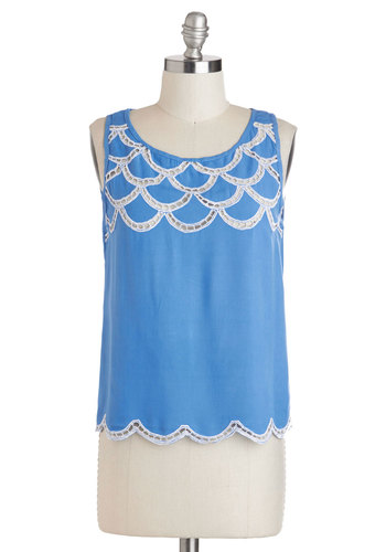 All's Swell Top by Sugarhill Boutique - International Designer, Mid-length, Blue, Solid, Scallops, Sleeveless, Casual, Beach/Resort, Summer, Blue, Sleeveless