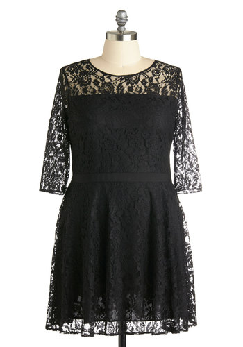 Make a Case for Lace Dress in Plus Size by BB Dakota - Sheer, Black, Solid, Lace, Party, A-line, 3/4 Sleeve, Better, Scoop, Formal, Girls Night Out