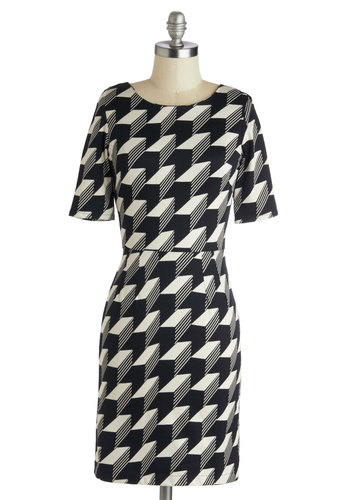 Thought I'd Dimension Dress by Louche - Cotton, Mid-length, Black, White, Print, Work, Shift, Short Sleeves, Better, Scoop, Variation, Exposed zipper