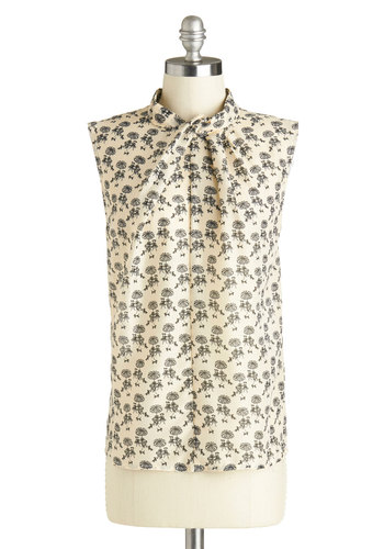Wine and Dine Outdoors Top by Louche - Mid-length, Sheer, Woven, Cream, Black, Novelty Print, Work, Sleeveless, International Designer, Exposed zipper, Tie Neck, Daytime Party, French / Victorian