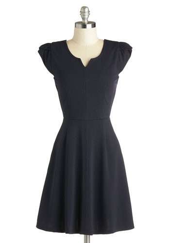 So Pretty, So Posh Dress by Louche - Mid-length, Knit, Black, Solid, Cutout, A-line, Cap Sleeves, Better, Exposed zipper, Party, Minimal