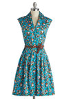 Bloom and Fro Dress by Louche - Mid-length, Blue, Multi, Floral, Buttons, Belted, Casual, Shirt Dress, Sleeveless, Better, Collared, Pockets, Spring, Summer